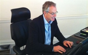 Tony Blair typing